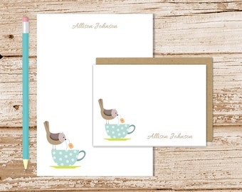 personalized tea cup stationery set . tea cup bird notepad + note card set . bird notecards note pad . womens stationary set . gift set