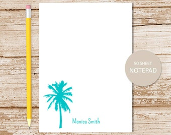 personalized notepad . palm tree notepad . tropical note pad . personalized stationery . summer stationary . beach notepad