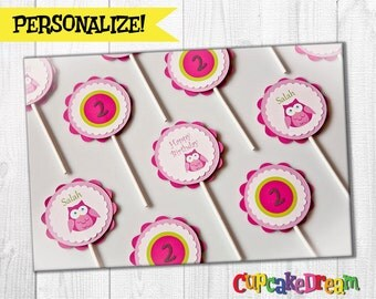 Owl Birthday, Cupcake Toppers, Owl Baby Shower Decoration, Set of 12