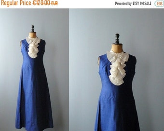 40% OFF SALE // Vintage maxi dress. Blue silk maxi dress with jabot. 1960s maxi gown. Long gown