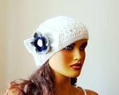 Hand Crochet White  Beanie Hat, Winter Accessories,Women White hat, Fall Fashion, Winter hat, Knitted White Women Beanie