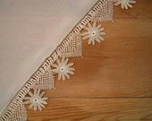 cream namaz scarf with needle lace trim