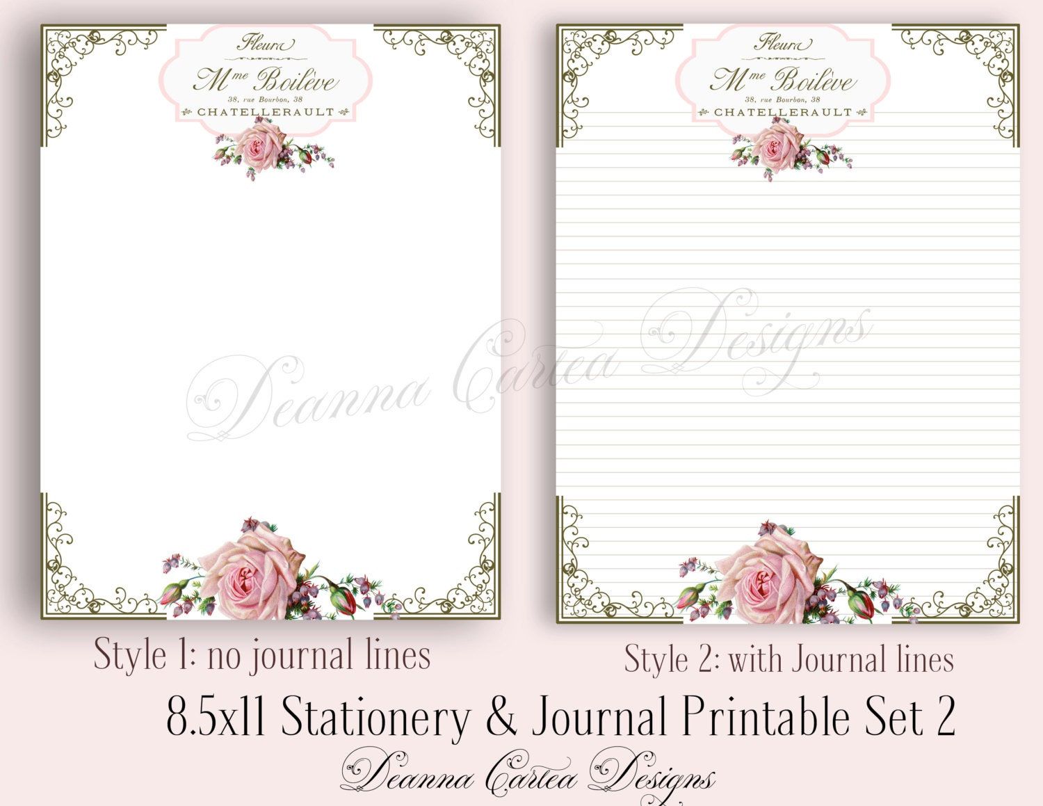Cahier Etsy printable lined paper jpg and pdf templates – Diary Paper Printable