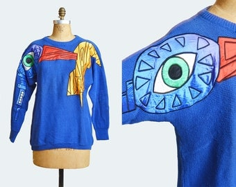 Vintage 80s Color Block Satin Patch Sweater / 1980s Embroidered Eye Graphic Slouchy Abstract PRINT Boho Blue Red Green m