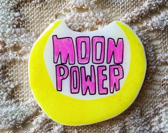 Sailor Moon pin, lapel, pinback, Moon Power,magical, brooch, holographic glitter, 90's, 90's fashion, 90's kid, pastel kawaii, cute pin