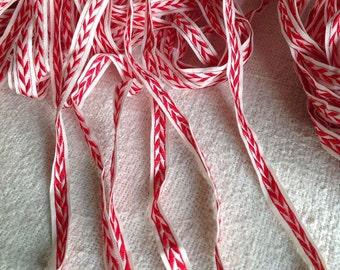Vintage Tape Trim Red White, French Haberdashery Edging. 5 yards Antique Ribbon, Old New Stock