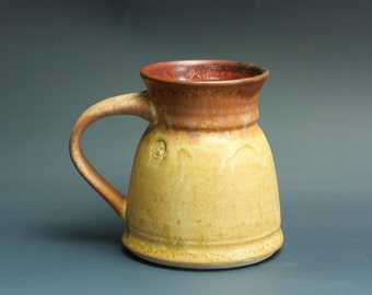 Handmade pottery coffee mug tea cup 14 oz, amber rust tea cup 3420