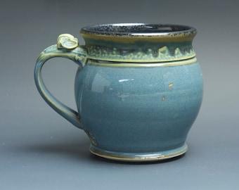 Pottery coffee mug, ceramic mug, stoneware beer mug blue 18 oz 3491