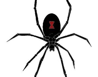 Black widow spider digital embroidery design, Spider digitized embroidery design