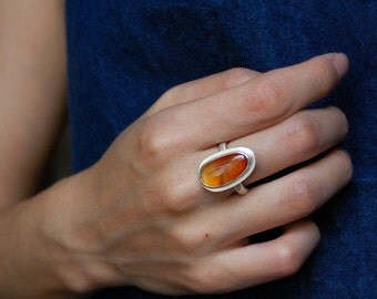 Sterling Silver Natural Red Agate Ring