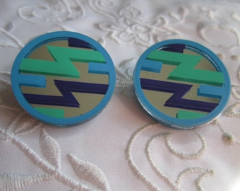 Vintage Avon Mirrored Magic Blue Pierced Earrings