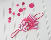 Sail Away With Me- bright hot pink and white rosette nautical stripe chiffon headband bow