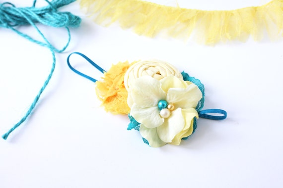 Chickie- yellow teal rosette chiffon and solk flower headband bow with lace