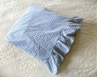 Vintage Full Size Flat Sheet Blue White Plaid Ruffled Edge Martha Stewart