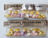 Vintage Spun Cotton Chenille Angel Ornaments in Original Package 1962