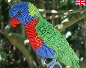 Amigurumi Rainbow Lorikeet- crochet pattern, PDF (English, Deutsch)