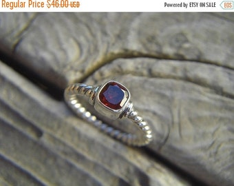ON SALE Deep red garnet ring in sterling silver