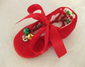 Girls Christmas shoes red holiday shoes baby Christmas shoes red jingle bells  shoes with bells- Jingle Bell Red