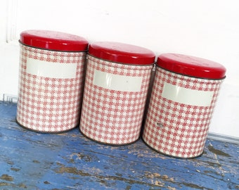 Vintage Red Tin Canisters, Red Kitchen Canisters, Red Checked Canisters, Vintage Tin Canisters, Farmhouse Red Kitchen, Country Red Kitchen