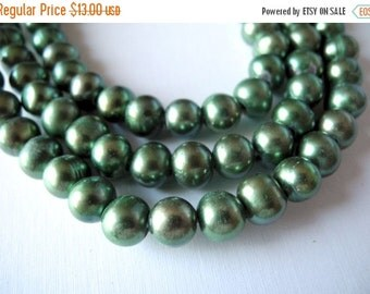 ON SALE Large Hole Pearls Freshwater Pearls Green  9mm 26 Pieces