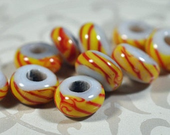 Indonesian glass beads, yellow/red, 8mm, 50 beads in pack, #901