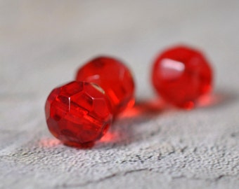 Red faceted glass beads, drilled, 10mm, #380