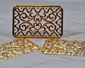 Gold plated brass rectangle pendants, 49x32mm, #622