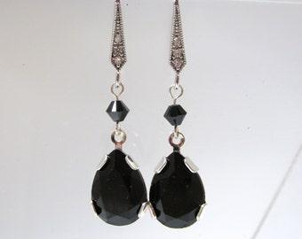Swarovski Crystal Earring, Black Crystal Earring, Teardrop Earring, Swarovski Crystal, Jet, CZ, Black, Earring, Set, Silver, Pave, Dangle