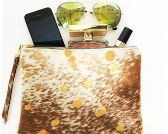 Mothers Day Free Shipping Gold Cream Caramel Hair On Cowhide Leather Clutch, iPad mini Handbag Casual Pouch Bag Gold  Zipper Women Gift