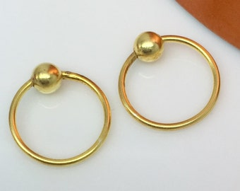 Wire hoop earrings, yellow auroral blast hoop earrings, men's hoop earrings, thin gold hoops, cartilage earring, tragus hoop, 534C
