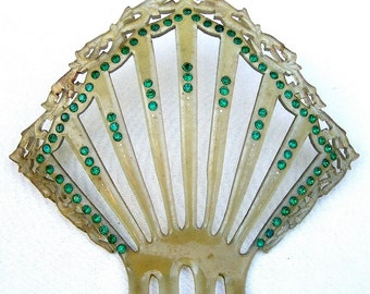 Celluloid Art Deco hair comb green rhinestones Spanish mantilla hair accessory headdress headpiece decorative comb