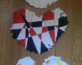 Geometric Paintings on Heart Shaped Handmade Paper scribble and geometric art frameable sacred geometry