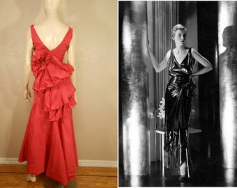 Orchids in the Moonlight - Vintage 1930s Hot Pink Fuchsia Rayon Taffeta Bustle Evening Gown Dress - 4/6