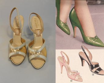 Clicking Down the Aisle - Vintage 1950s Pearl Ivory Leather & Clear D'Orsay Stilettos - 5.5