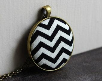Black and White Chevron Jewelry, Geometric Necklace for Women, Black and White Pendant, Black Chevron Pendant, Fabric Jewelry
