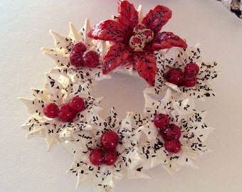Vintage Christmas Pin Celluloid Pin Celluloid Christmas Pin Wreath Pin