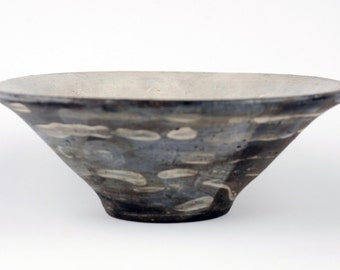 Grey Bowl with White Brush Marks