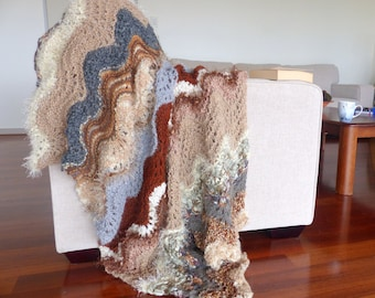 Hand knitted blanket rug Thick brown throw blanket Chunky knit Blanket Home decor brown and grey throw afghan Knee rug