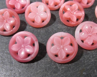 Pink Glass Flower Buttons Open Work Pierced VINTAGE Ten (10) Pink Glass West Germany Vintage Button Wedding Jewelry Supplies (N204)