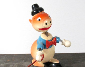 VINTAGE Nodder Bobble Head Pig in Top Hat Goula Carved Wood Painted One (1) Elegant Pig 1970s Made in Spain Figures Collectible (F222)