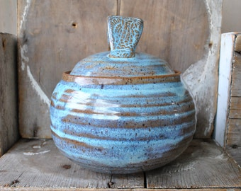 Stoneware Opal Lidded Jar with Tribal Stamped Handle