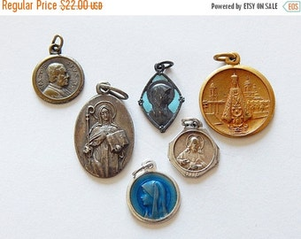 Sale 30% french medals vintage 6 religious pendant/ medals