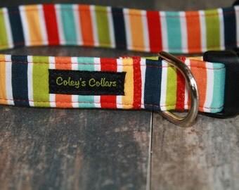"Dog Collar Small 3/4"" Ready to Ship Sale ""The Multi Stripe"""