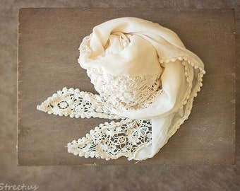 Cream Wrap, Baby Lace Wrap, Baby Girl Wrap, Crochet Lace, Vintage Baby Girl Prop, newborn Props, RTS, Cotton Wrap, Baby Props, Floral