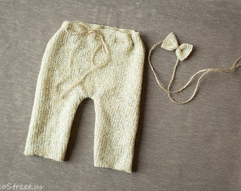 Baby Pants and Baby Headband, Baby Diaper Cover, Newborn Props, Baby Props, Cream Pants, RTS, Natural Props, Baby Girl Props, Wool, Rustic