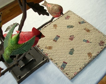 Birdhouse Mug Rug Quilted Snack Mat Quiltsy Handmade FREE U.S. Shipping