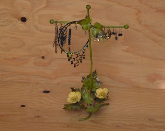 Vintage 60's Metal Shabby Chic Jewelry Necklace Bracelet Holder Greens & Yellows Floral Detail