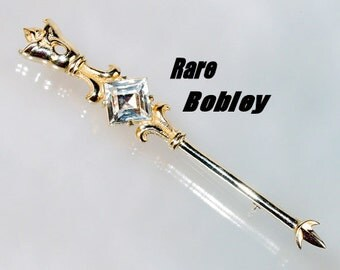 Rare 50s Rhinestone Brooch Pin by Designer Bobley Huge Vintage Jewelry Collectible