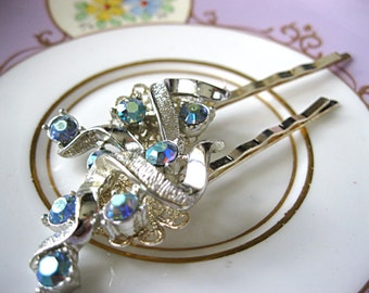 Wedding hair pins, silver and light blue rhinestone, vintage earring bobby pins, vintage jewelry hair pins, bridal hair pins, bridesmaid