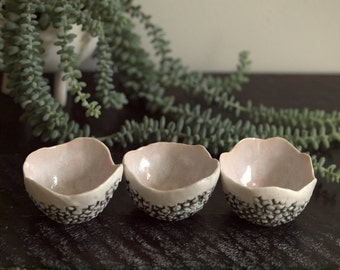Trio of small textured bowls in pink, cream and dark gray.  Handmade porcelain prep bowls.